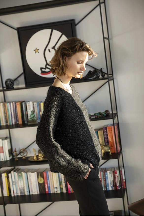 Black mohair boat neck sweater