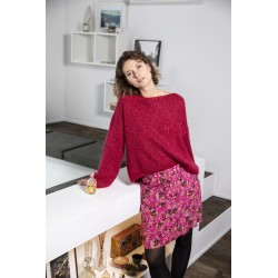 Cherry red boat neck mohair sweater