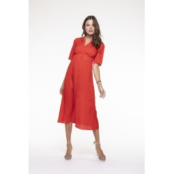 Robe fluide rouge coquelicot