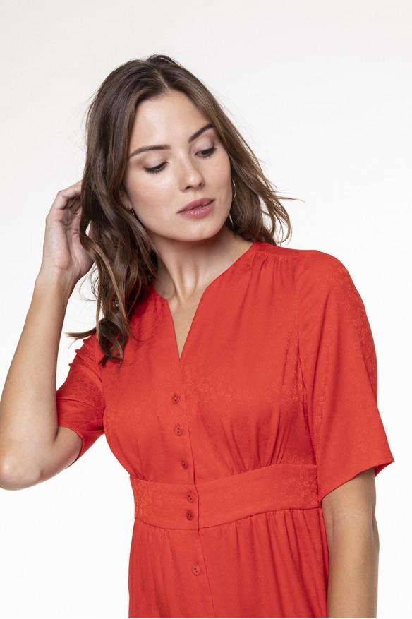 Poppy red fluid dress