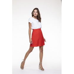 Jupe fluide rouge coquelicot