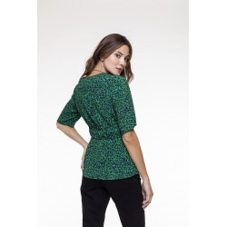 Green and black spotted printed buttoned top