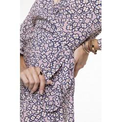 Pink printed wrap dress