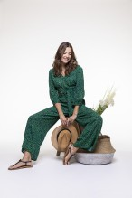 Green and black spotted printed jumpsuit