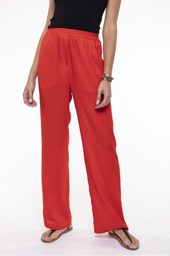 Poppy red fluid pants