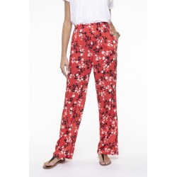 Fluid coral printed pants