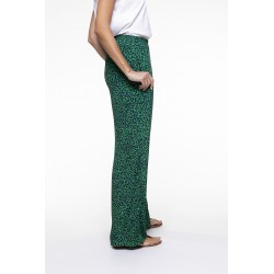 Green and black spotted printed fluid pants