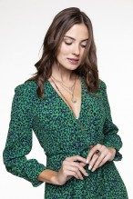 Green and black spotted printed green wrap dress