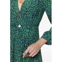Robe longue à l'imprimé tacheté vert et noir