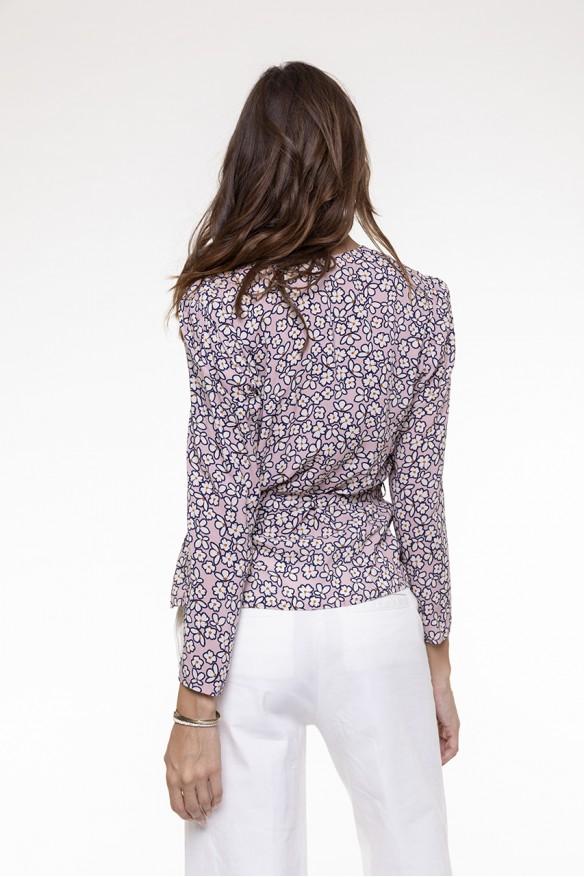 Pink printed belted top