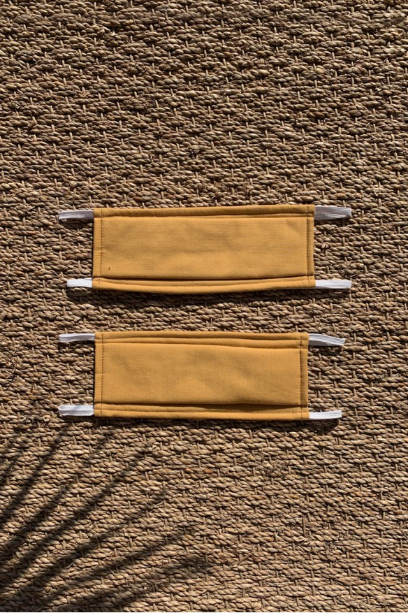 Packs of 2 mustard yellow barrier mask