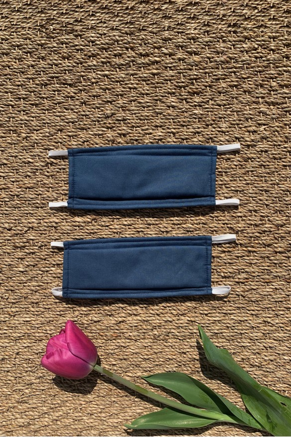 Packs of 2 blue denim barrier mask