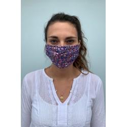 Lot de 2 masques barrières fleuri bleu