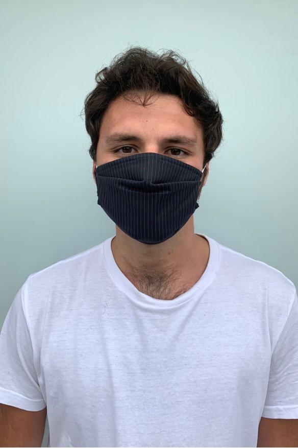 Lot de 2 masques barrières bleu marine et rayures grises