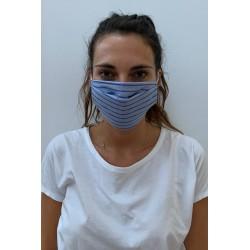 Lot de 2 masques barrières bleu rayé pyjama
