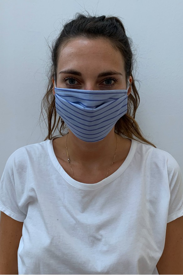 """Packs of 2 blue barrier mask with """"pijama"""" stripes"""