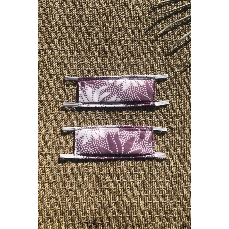 Packs of 2 flowery mauve and white barrier mask