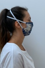 Packs of 2 blue and white barrier mask with floral prints
