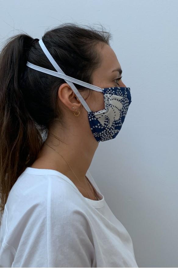 Lot de 2 masques barrières bleu floral