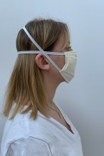 Lot de 2 masques barrières écru effet rayé
