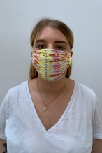 Packs of 2 gipsy print barrier mask with coral and yellow tones