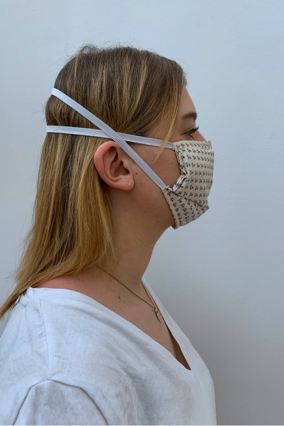 Packs of 2 white barrier mask with little flowers