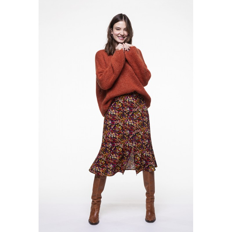 Terracotta boat neck sweater in mohair