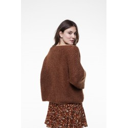 Whisky color mohair boat neck sweater