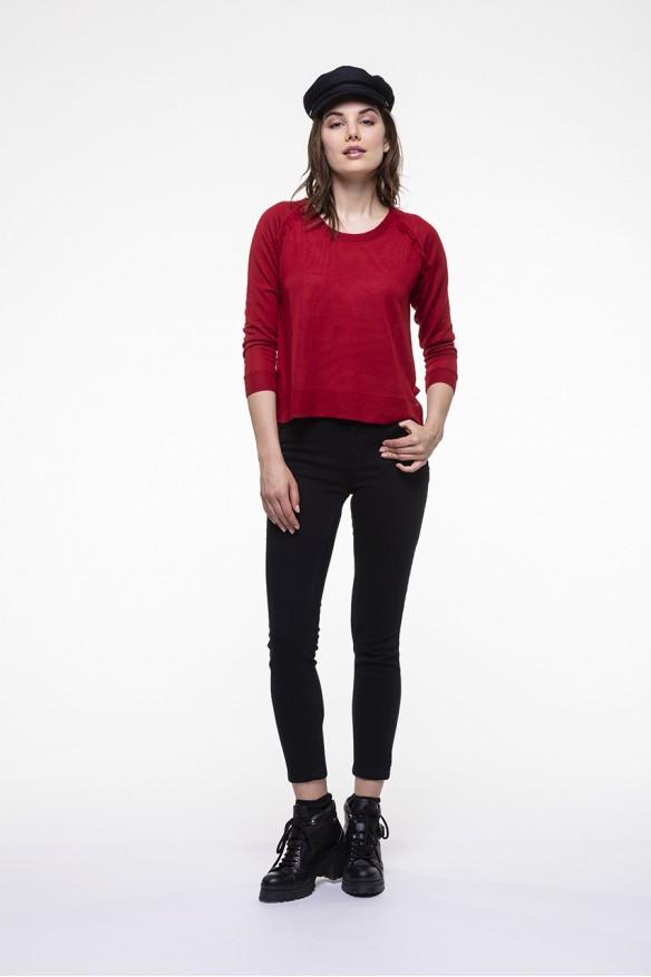 Pull en laine mérinos rouge