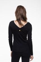 Pull col V bicolore en laine cachemire noir et blanc