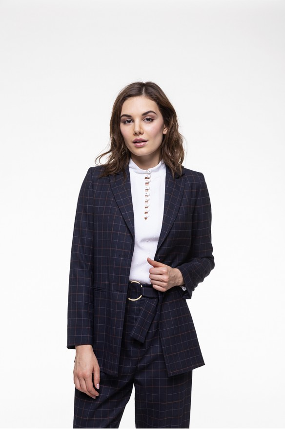 Navy Checkered Blazer