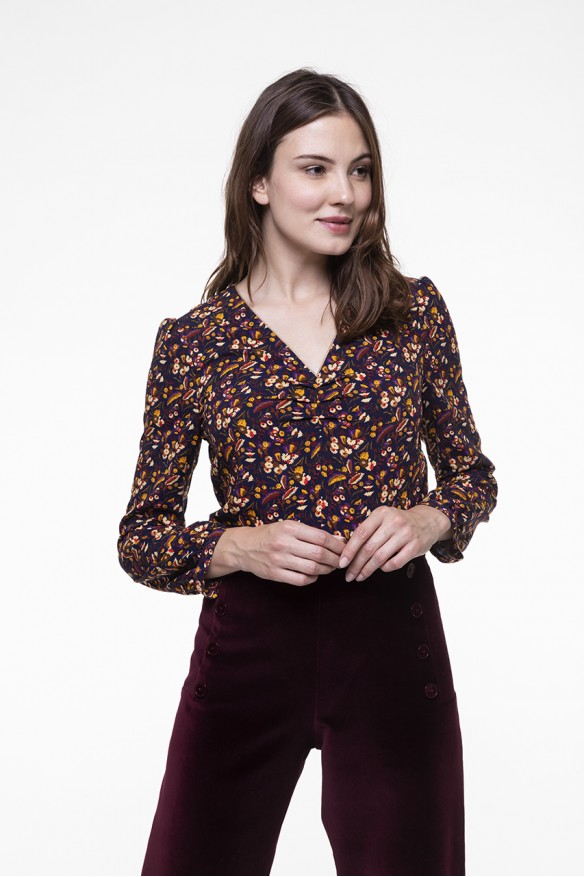Navy blue Floral printed V-neck top