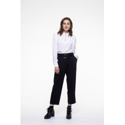 Off white viscose top with a high neck