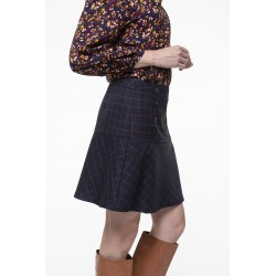 Navy checkered wrap skirt
