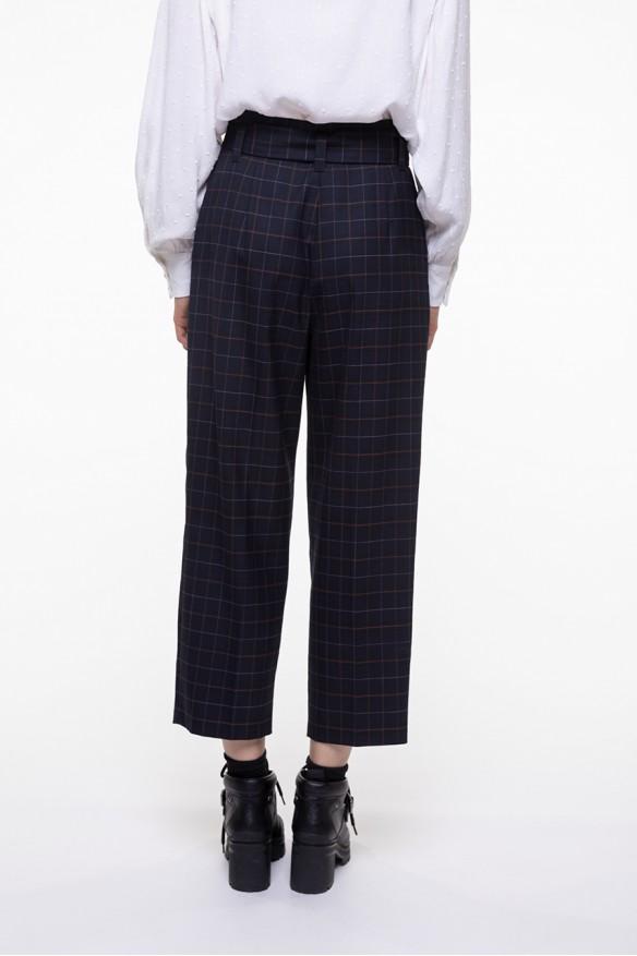 Pantalon ceinturé à carreaux marine