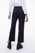 Shortened navy checkered pants