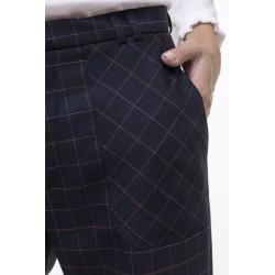 Pantalon raccourci à carreaux marine