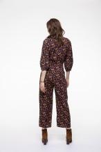 Combinaison pantalon à l'imprimé fleuri fond marine