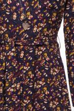 Robe chemise midi à l'imprimé fleuri fond marine