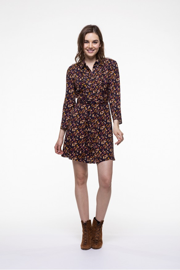 Floral printed belted dress