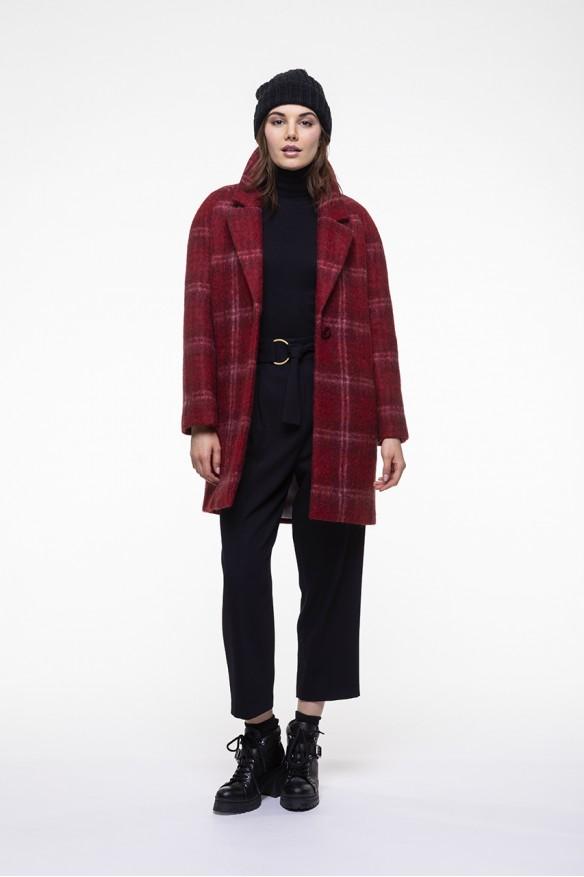 Manteau rouge à carreaux en mélange mohair alpaga