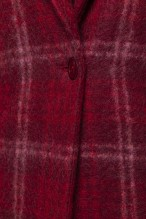 Red checkered alpaca mohair blended coat