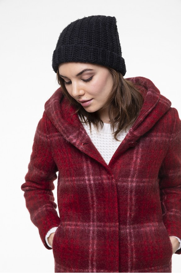 Red checkered mohair alpaca blended hooded coat