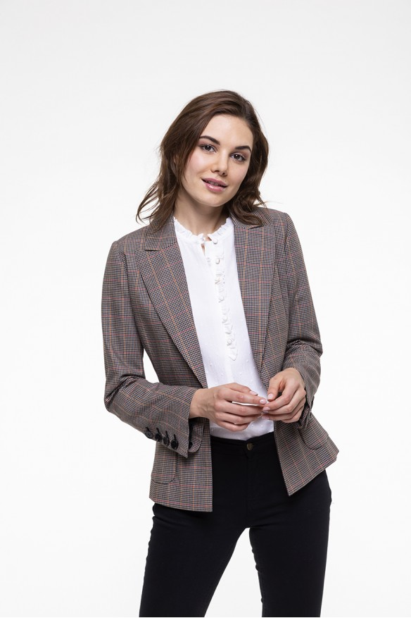 Beige checkered virgin wool blended jacket