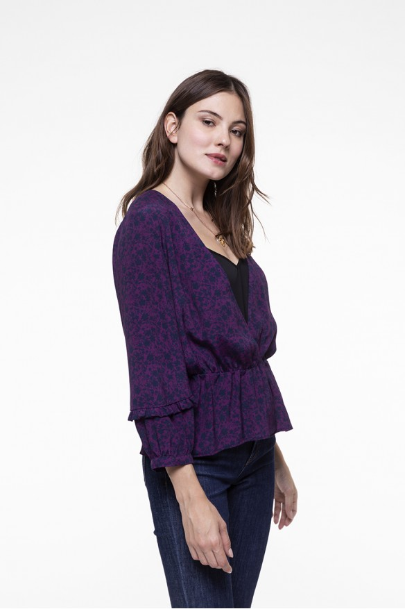 Plum floral printed elasticated waist top