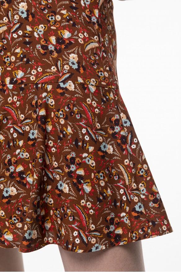 Jupe-culotte à l'imprimé fleuri fond camel