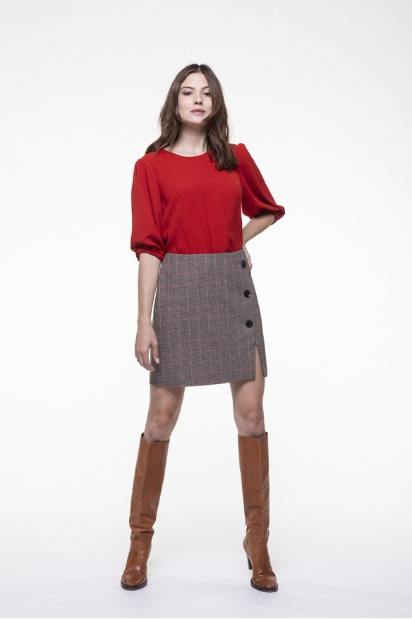 Beige checkered virgin wool blended skirt