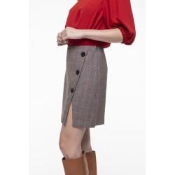 Beige checkered virgin wool blended skirt