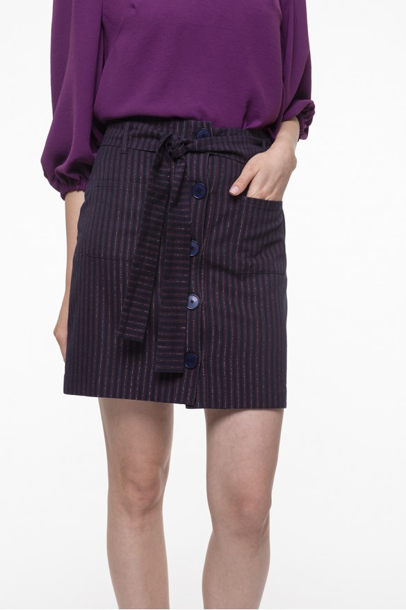 Striped belted pencil skirt