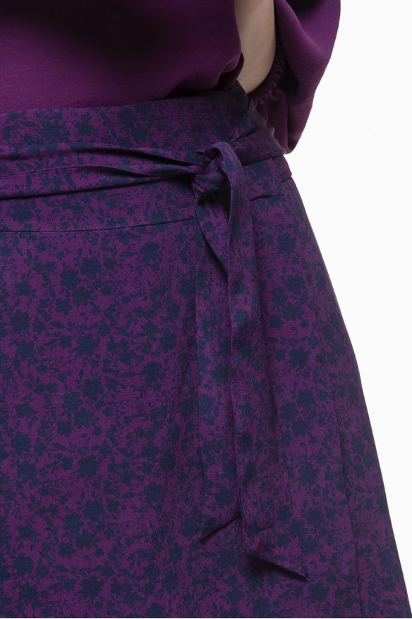 Plum printed wrap skirt